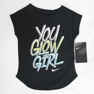 Nike Athletic Cut Toddler Girls Black T Shirt